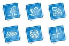 Blueprint Social Icons - Artwork by Double-J Design Social Web, Social Media Icons, Social Network Icons, Desktop Icons, Website Icons, Animal Logo, Web Development, Icon Design, Free Design