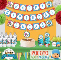 Pocoyo Birthday Party banner  Happy Birthday by LilFacesPrintables, $6.95