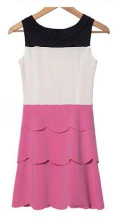 Sleeveless Scallop Layers Short Dress