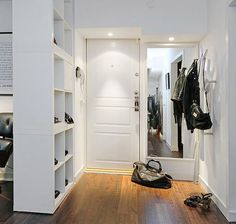 Great idea for more storage and add storage boxes or even close off one side with wood and add coat hooks! For a small house! For a rental house place or apartment! 15 Super Smart Ways to Use the IKEA Kallax Bookcase Portable Room Dividers, Wooden Room Dividers, Hanging Room Dividers, Sliding Room Dividers, Glass Room Divider, Diy Room Divider, Divider Ideas, Bookshelf Room Divider, Ikea Bookcase