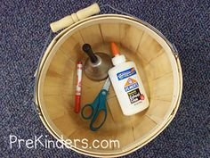 """Rhyming Basket - Objects are placed in a basket and the basket is passed around the circle. As each child gets the basket, teacher says a word (such as """"fizzers"""") and they pull out the object that rhymes (""""scissors""""). You can use any objects, because it doesn't matter if the rhyming words are real words or nonsense words."""