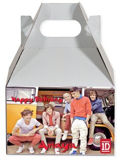 World of Pinatas - One Direction red Personalized Gable Box (set of 6), $11.99 (http://www.worldofpinatas.com/one-direction-red-personalized-gable-box-set-of-6/)