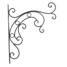 "Large 19""x15"", Wrought Iron Bracket, Plant hanging bracket, Victorian Scroll, Outdoor Decor, Black"