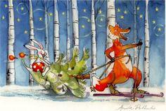 Anita Polkutie, Christmas card 10 x Finland Christmas Illustration, Cute Illustration, Christmas Greetings, Christmas Cards, Cartoon, Painting, Finland, Pencil, Artists
