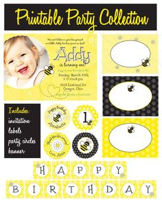 "Itsy Belle's Event Printables!    Sweet Bumble Bee Collection  Basic Party Package     Includes:  Printable 5x7 Personalized Photo Invitation  Printable 2"" Round Personalized Party Circles  Printable Blank Fancy Labels  Printable Happy Birthday Party Banner"