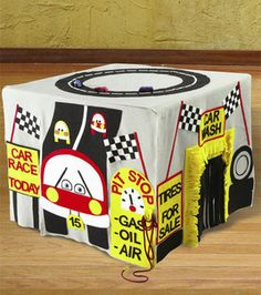 race car card table play house. love the car wash and the race track on top