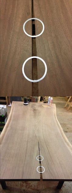 "Trying something new to ""stitch"" the check on the amazing walnut slab! Solid steel rings inlayed right into the wood"