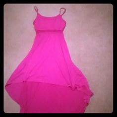 Train Style Summer Dress Pink/purple color, short in the front, and long in the back dress. Cool see through design around bust area Dresses High Low