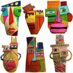 cardboard masks art for kids 25 Picasso Inspired Art Projects For Kids Club D'art, Art Club, Creative Self Portraits, Creative Art, Portraits For Kids, Art Picasso, Picasso Kids, Pablo Picasso, Cardboard Mask