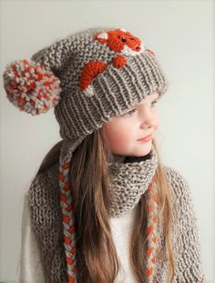 Hat and Scarf Fox Hat Winter Accessories Pom Pom Hat Scarf with Fringe Winter Outfit Kids Fashion Earflap Hat Kids Outfit Cute Hat Crochet Kids Scarf, Crochet Fox, Cute Crochet, Crochet For Kids, Crochet Beanie, Fashion Kids, Fox Hat, Hat And Scarf Sets, Pom Pom Hat