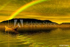 Beautiful landscape scenery with a rainbow and a boat in the water - Buy this stock photo and explore similar images at Adobe Stock Freelance Graphic Design, Beautiful Places To Visit, Photoshop Actions, Beautiful Landscapes, Scenery, Rainbow, Boat, Stock Photos, Explore