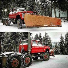 Ford CrewCab duece and a half plow truck 1979 Ford Truck, Lifted Ford Trucks, Chevy Trucks, Pickup Trucks, Dump Trucks, Rolling Coal, Diesel Trucks, Dodge Diesel, Cool Trucks