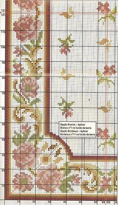 Cross Stitch Rose, Cross Stitch Borders, Cross Stitch Flowers, Cross Stitching, Cross Stitch Embroidery, Needlepoint Patterns, Embroidery Patterns, Cross Stitch Patterns, Persian Pattern