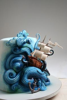 Ok so maybe right now I'm obsessed with #nautical things, but this idea really takes the #cake!  What a fabulous cake to add to your #pirate themed party.  If you don't think you can make this use a plastic ship and make your waves out of crusty butter cream on wax paper and let it dry over night and then place it on the cake the next day.