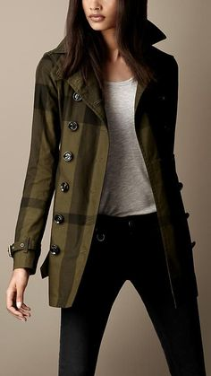 Short Cotton Twill Check Trench Coat | Burberry