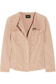 7 for all mankind|Distressed stretch-denim jacket|NET-A-PORTER.COM - StyleSays