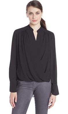 BCBGMAXAZRIA Women's Jaklyn Draped Front Blouse, Black, X-Small Best Price