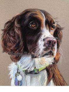 "Custom Pet Portrait Dog Portrait Original Pastel Painting 8""x10"" by Olena Baca"