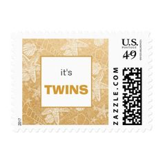 Gold Sea Shell twins baby shower postage stamp - baby gifts child new born gift idea diy cyo special unique design