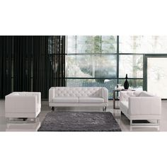 $1416 - 3 pieces This luxurious sofa set is a great addition to any living space. It will leave your room with a bright and clean appearance that will attract guests and catch some eyes. Its tufted cushions offer a unique and inviting appearance. The design is based on creators? passion and users? tastes.