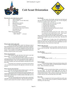 Cub Scout Orientation for New Cub Scouts and Parents