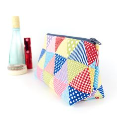 Small Linen Makeup Bag in Bright Triangles Teenage Girl Gift £15.00