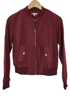 best service 775fd 793fb womens bomber jacket - elastic hem and cuffs - cropped and fitted -  burgundy color