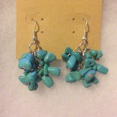 Gorgeous Turquoise stone earrings Brand new earrings, silver with bundles of turquoise stones Jewelry Earrings