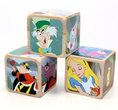 Alice In Wonderland Wooden Blocks Baby Blocks by Booksonblocks Wooden Baby Blocks, Photo Blocks, Nursery Room Decor, Baby Shower Decorations, Alice In Wonderland, Create Your Own, Decorative Boxes, Etsy Shop, Paper
