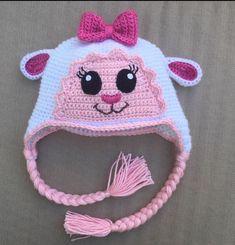 Lambie hat crochet pattern by Ambercraftstore on Etsy Crochet Kids Scarf, Crochet Animal Hats, Crochet Baby Hats, Crochet Beanie, Crochet For Kids, Knit Crochet, Crochet Stitches, Crochet Patterns, Crochet Projects To Sell
