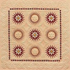 Look at the quilting detail on this! Circle Quilts, Star Quilts, Longarm Quilting, Free Motion Quilting, Machine Quilting Designs, Quilting Ideas, Quilting Projects, Sunflower Quilts, Red And White Quilts