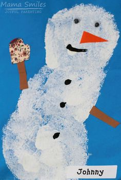 Sponge painted snowman and polar bear art projects for kids