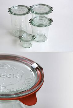 Weck jars (made in Germany) have glass lids, rubber gaskets, and a metal clamps. Replacement gaskets and extra clamps available. NOTE: This style is NOT recommended as safe & reliable for canning by the USDA. These are better for dry storage (nuts, spices, etc).