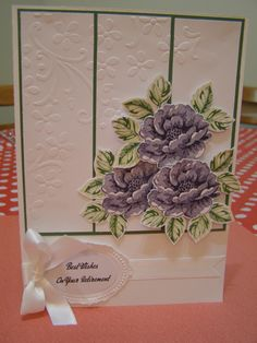 Retirement Card--Stippled Blossoms stamp set. Elegant Bouquet and the oval Designer Frame embossing folders. Colours used - Garden Green, Certainly Celery, Wisteria Wonder, Elegant Eggplant, Whisper White and Garden Green card