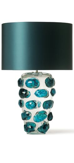 #Table #Lamps, Luxury Designer Blue Art Glass Table Lamp, so beautiful, one of over 3,000 limited production interior design inspirations inc, furniture, lighting, mirrors, tabletop accents and gift ideas to enjoy repin and share at InStyle Decor Beverly Hills Hollywood Luxury Home Decor enjoy happy pinning