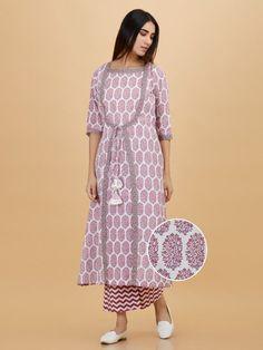 Pink Hand Block Printed Cotton Flared Kurta