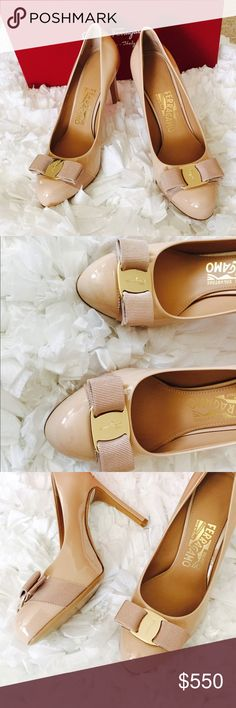 """Salvatore Ferragamo Pimpa Shoes 4.3 inches covered heel; 0.5 hidden platform """"3.8 inches"""" equivalent. Almond toe with grosgrain Vara bow. Golden logo-engraved buckle plate. Lightly padded leather footbed. Leather lining and sole. This is gorgeous in pristine condition. Size is 6B. This comes with dust bag, box and spare heel. No scratches except for some non noticeable flaws. See last 3 photos. Market price is $650 before tax at Neiman Marcus. Purchase comes with New Ferragamo Body Lotion…"""