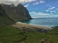Kvalvika Beach in Lofoten Islands, Norway.  - use #HattvikaLodge as your Base Camp for exciting guided adventures and activities in Lofoten
