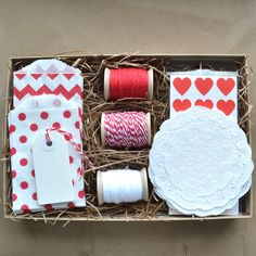 Valentine craft and packaging kit Red and by PaperAndPresent