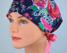 Surgical Scrub Hat or Chemo Cap- The Mini with Ribbon Ties- Sunday Clippings