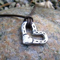 Heart and Horse Shoes Necklace Rustic Hammered Horse by KDemARTe, $20.00