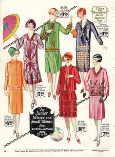 1927 Summer Day dresses. Streamlined straight cuts with thin belts, fitted and bishop sleeves, and low drop waists. Via VintageDancer.com