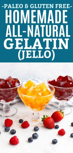 "How to Make Healthy Homemade Jello Healthy Homemade Jello in dessert glasses with fresh fruit and text that reads ""Paleo & Gluten Free Homemade All-Natural Gelatin (Jello)"" vegane Babyn. Keto Jello Recipe, Paleo Jello, Gluten Free Jello, Paleo Fruit, Healthy Fruits, Paleo Diet, Paleo Dessert, Jello Dessert Recipes, Gelatin Recipes"