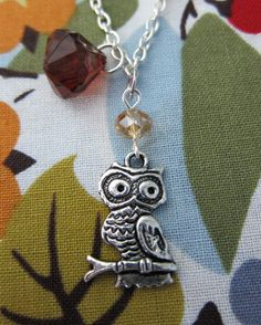 Owl Necklace What A Hoot - Red Acorn Autumn Fall - 70s Retro Woodland Creature. $20.00, via Etsy.