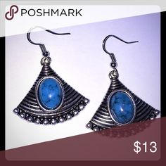 BOHO EARRINGS   Silver/Turquoise What better way to let people know you've got fans!  These classy, lightweight earrings will lift you up wherever you find yourself!  Tibetan silver. Jewelry Earrings
