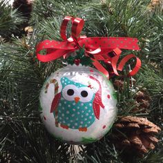 2015 Turquoise Owl Christmas Ornament by GingerspiceStudio on Etsy