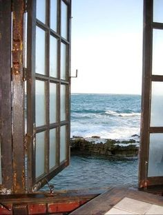 I love rustic windows with an ocean view