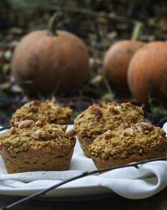 Oatmeal pumpkin spice muffins. No flour, no processed sugar; my favorite!! // made 10/17/13, easy and yummy! Very soft. // these get really soft and gummy after a few days, maybe reduce the wet ingredients?