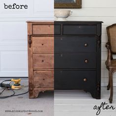 Before & After of my little black dresser. Milk Paint Furniture Makeover by Miss… Before & After of my little black dresser. Milk Paint Furniture Makeover by Miss Mustard Seed Black Painted Dressers, Milk Paint Furniture, Painted Bedroom Furniture, Black Painted Furniture, Trendy Furniture, Black Furniture, Diy Dresser, Dresser Makeover, Black Bedroom Furniture