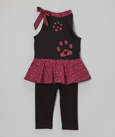 Take a look at this Pink & Black Leopard Tunic & Leggings - Toddler & Girls on zulily today!